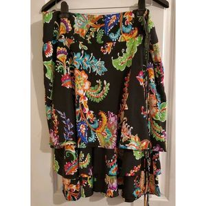 NWT LAUREN RALPH LAUREN Black Floral Tiered Skirt